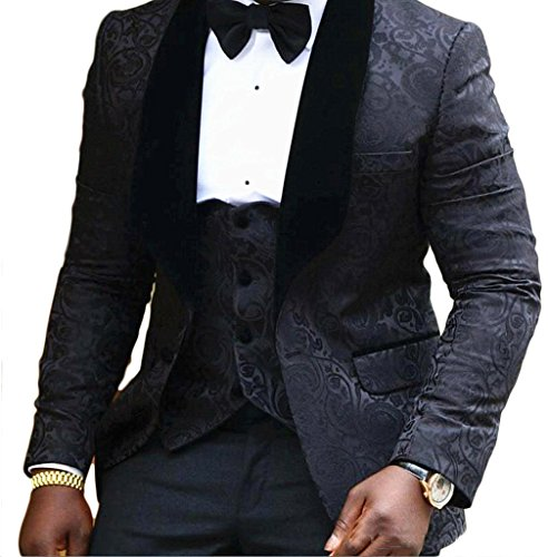 acquard Weave Mens Slim Fit Tuxedos Suits 2 Piece Sets Black 44R (Mens Black Tuxedo Jacket)