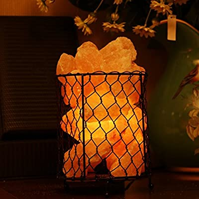 """cosway Natural Himalayan Salt Rock Lamp Carved, Fresh Air Purifier Lamp in Dimmable Cord Metal Basket 5.5""""-6.6"""""""
