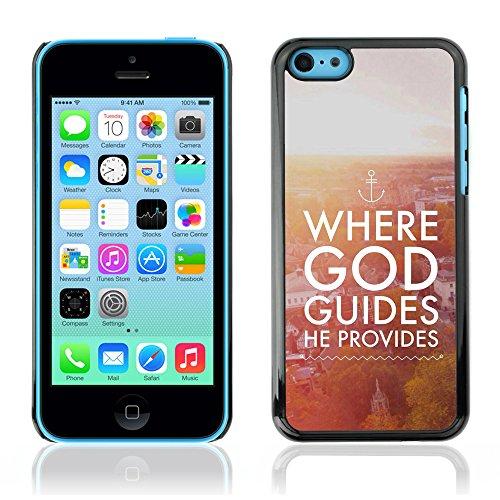 DREAMCASE Citation de Bible Coque de Protection Image Rigide Etui solide Housse T¨¦l¨¦phone Case Pour APPLE IPHONE 5C - WHERE GOD GUIDES HE PROVIDES