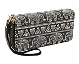 Bohemian Purse Wallet Canvas Elephant Pattern Handbag with Coin Pocket and Strap (Large, Black Elephant)