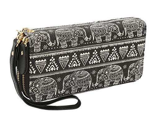 Elephant Purse - Bohemian Purse Wallet Canvas Elephant Pattern Handbag with Coin Pocket and Strap (Large, Black Elephant)