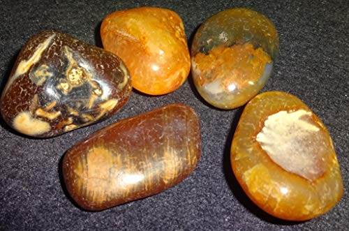 Agate Chunk - Sublime Gifts 5pc #92 Large Natural A-Grade Fire Agate / Tumbled & Polished / Amazing Color & Inclusions / Markings / Healing Crystal Gemstone / Specimen, Collectible , Wrapping Stone
