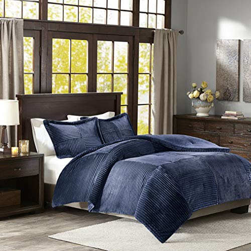 Kaputar New! Plush Ultra Soft Luxury Comfort Corduroy Navy Blue Cozy Comforter Set | Model CMFRTRSTS - 1283 | King