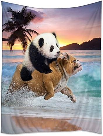 TSlook Hippie Tappassier Tapestry Bohemian Bedspread Funny Panda Ride Pug Dog Running in Beach 60 x 80