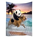 Hippie Tappassier Tapestry Bohemian Bedspread Funny Panda Ride Pug Dog Running In Beach 40'' x 60''