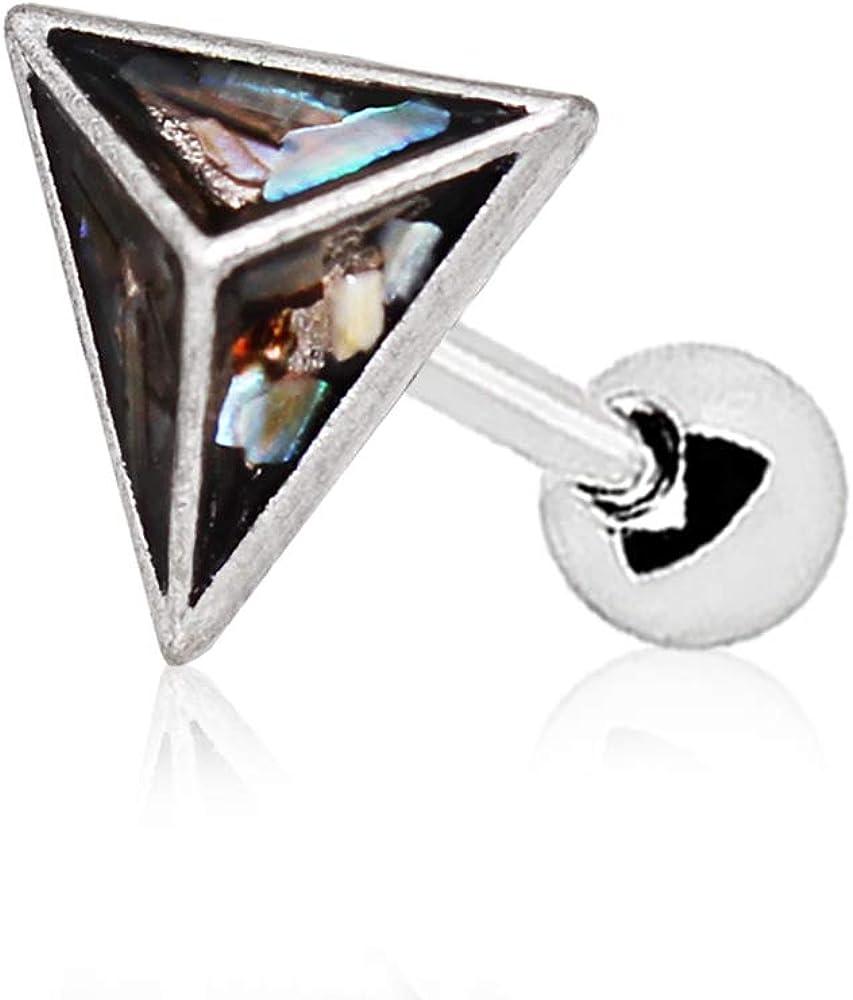 Amelia Fashion 16 Gauge Abalone Shell Pyramid Tragus/Cartilage Earring Stud 316L Surgical Steel