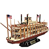 CubicFun Mississippi Steamboat 3D Puzzle Model Ship and Boat Kit Gift for Children and Adults, 142 pieces