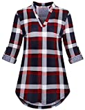 Viracy Tunic Blouses for Leggings for Women, Ladies Cotton Shirts Plaid Henley V Neck Roll-Up Sleeve Graphic Form-Fitting Breathable Peasant Top Holiday Wear Red XL