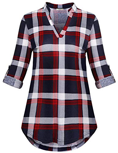 Viracy Womens Plaid Shirts, Ladies Plus Size Shirt to Wear with Leggings Casual Gingham Long Sleeve Top V Neck Work Henley Maternity A Line Tunic Stretchy Trapeze Roomy Polo Red 2XL