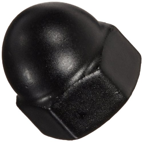Black Powder-Coated Steel Acorn Nut, Low Crown, USA Made, 10-24 Thread Size, 3/8
