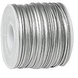 40m PU Lederband in einer Kordel, silber 2mm breit