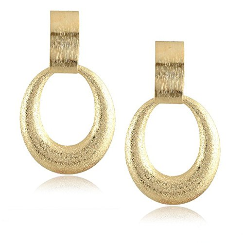 Shape Dangling Oval Ring (Gudukt Brushed Gold Dangling Earrings Oval Shape Light Weight 1 Pair)
