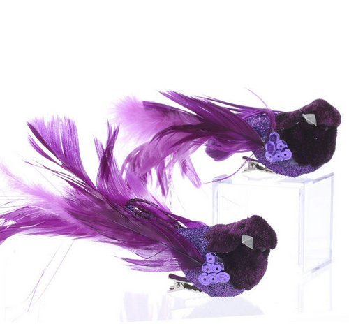 Fancy Bird (Factory Direct Craft Package of 12 Purple Velvet and Foam Artificial Birds with Fancy Feathered Tails and Attached Alligator Clip for Easy Crafting and Displaying)