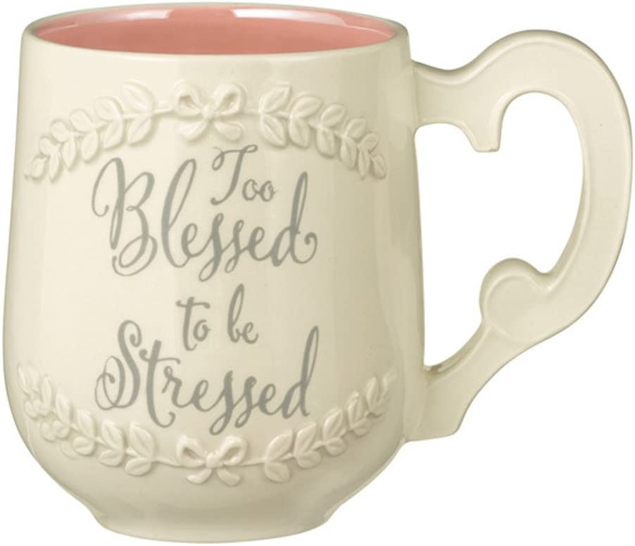 Too Blessed to Be Stressed Ceramic Coffee Mug Cup Grasslands Road, White, Pink, 14 oz
