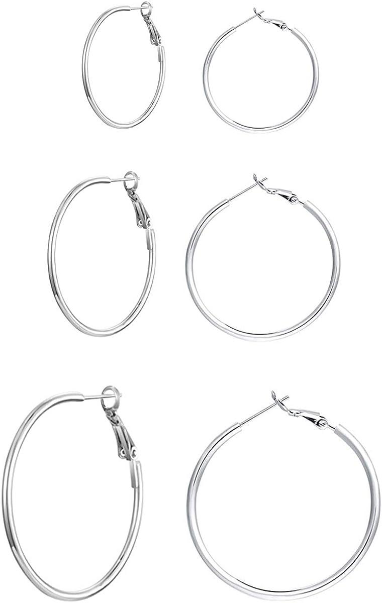 30MM 40MM 50MM 3 Pairs Sterling Silver Hoop Earrings 14k White Gold Plated Hoop Earrings Big Hoop Earrings Set Silver Hoop Earrings for Women Girls