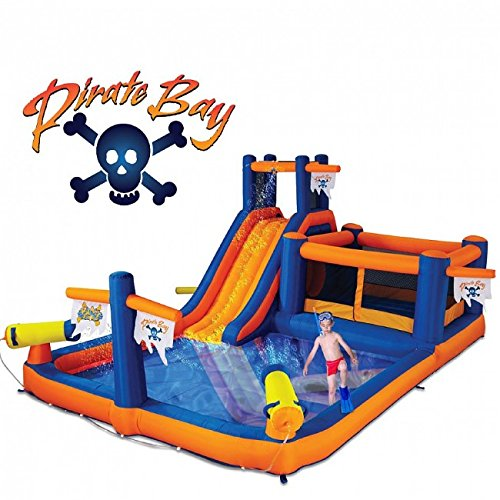 Blast Zone Pirate Bay Inflatable Combo Water Park and Bounce - Dual Water Combo