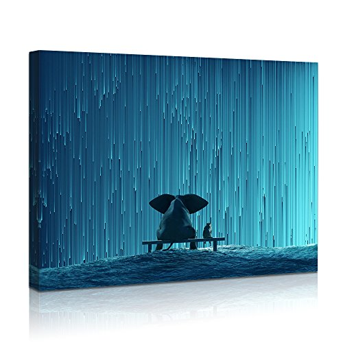 Visual Art Decor Modern Fancy Blue Wall Art Elephant and Dog Watching Meteor Showers Old Friends Photo Picture Framed and Stretched Ready to Hang 01 Star Rain, 16 x20