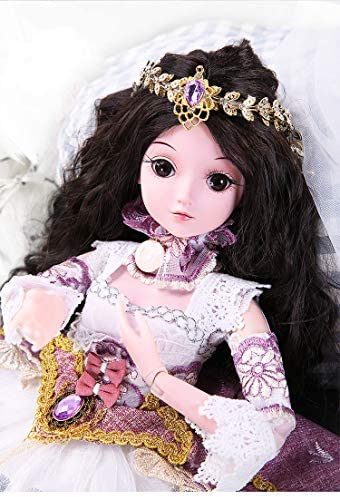 FDCJK BJD Doll Puppen Set, BJD Puppe 1/3 Gelenkig Bewegliche Puppe Makeup Doll mit Make-up Gesicht, Augen und schönen Kleidern, 60cm, Geschenk/Sammlung