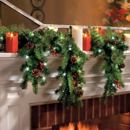 6 Ft LED Lighted Battery Operated Cascading Garland Christmas Holiday Decor by KNL Store (Image #2)