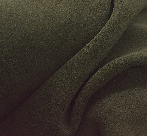 Leather Cow Upholstery Project Piece 2.1 sf Olive Green 4-5 oz suede -15 (Suede Cow Leather)