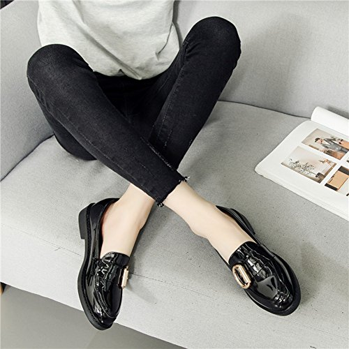 Btrada Britse Stijl Glimmende Oxfords Schoenen-metalen Gesp Vierkante Hak Casual Werkschoenen Voor Dames