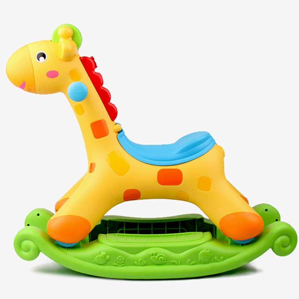 B Friendship Shop- Kids Toy Giraffe Rocking Horse, Dual-use Storage with Light Music Rocking Chair 3C Certification (color   A)