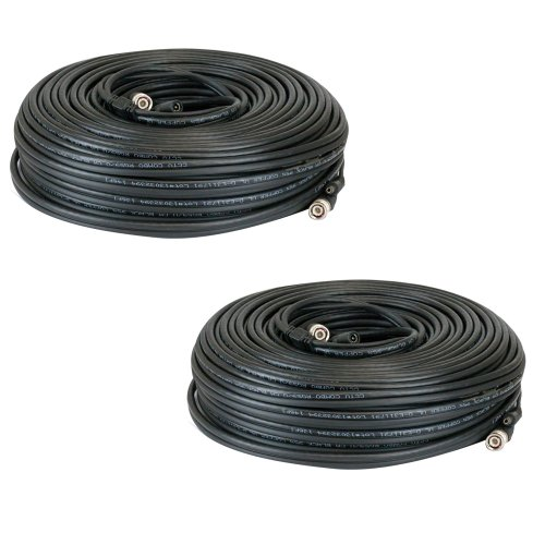 GW Security Premade 2 x 150 feet Siamese CCTV Coaxial Cable RG59 Combo Cable for Connecting HD-SDI / HD-TVI Camera System with BNC Connector and 2.1mm Power Connector (Black) by GW Security Inc (Image #2)