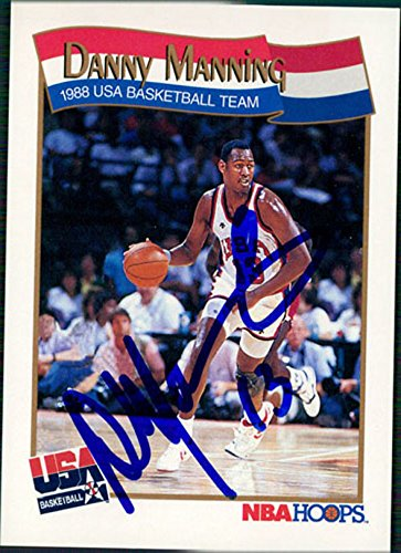 Danny Manning Signed (Signed Manning, Danny (Los Angeles Clippers) 1991 NBA Hoops Basketball Card)
