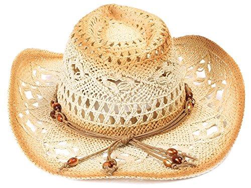 Simplicity Men / Women's Summer Woven Straw Cowboy Hat, 2826_Brown