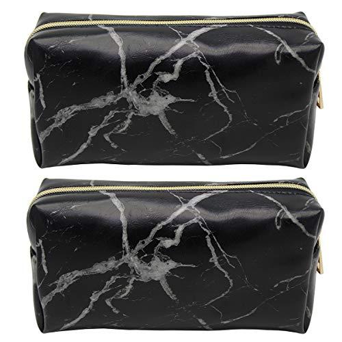 Lozom 2 Pack Portable Makeup Bag Zipper Waterproof Travel Storage Pouch Cosmetic Toiletry Bag (Black)