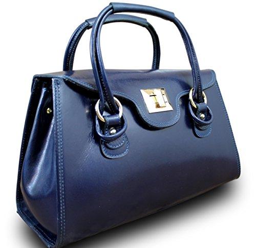 Made in italy sac à main pour femme en cuir hobo bag iT cube bleu foncé