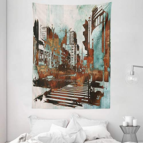 Ambesonne Grunge Tapestry, Urban Cityscape Contemporary Abstract Acrylic Paint Style Brush Strokes, Wall Hanging for Bedroom Living Room Dorm, 60 X 80 , Seafoam Brown White