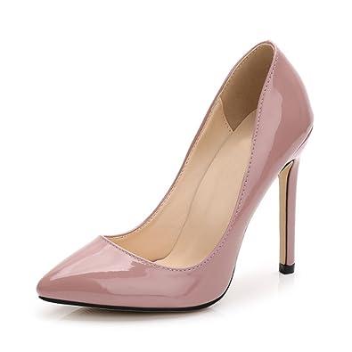 OCHENTA Women s Patent Leather Slip on Stiletto Dress Pump Nude Pink Tag ... d2675eb0e