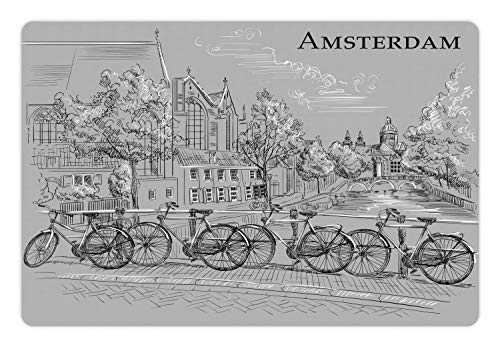 Ambesonne Amsterdam Pet Mat for Food and Water, Vintage Style Bicycles Arranged on a Bridge Over The Canals, Rectangle Non-Slip Rubber Mat for Dogs and Cats, Pale Taupe Dark Grey and White