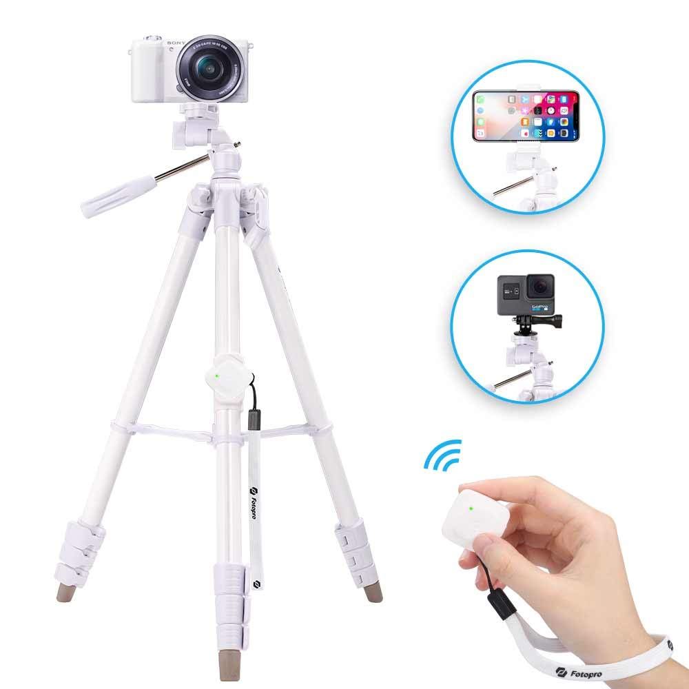 Fotopro Lightweight Camera Tripod, 59'' Phone Tripod with Remote, Tripod for iPhone X with 3-Way Head, Aluminum Portable Tripod for Cannon Smartphone Gopro with Adapter, White