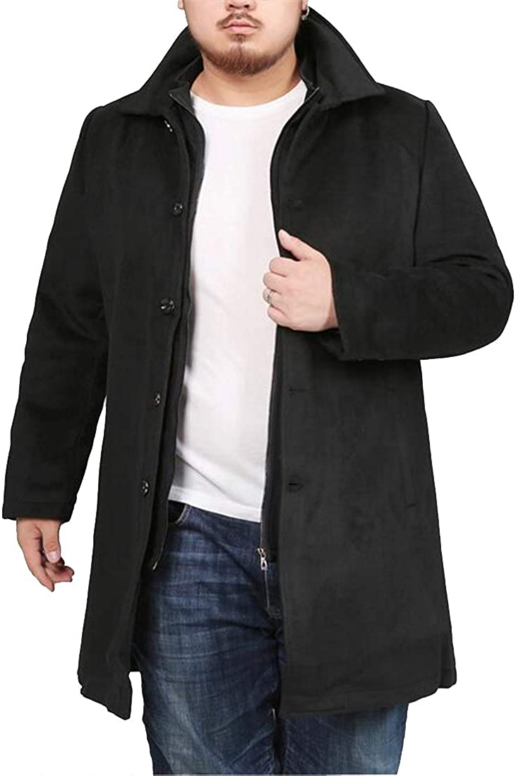 ARTFFEL Mens 2 Pieces Suits Fall Winter Mid Length Single Breasted Plus Size Trench Coat Jacket Overcoat