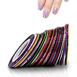 PINPAI Rolls Striping Tape Lines, Narrow Nail Tape for Nail Art Decoration Crafting Projects Thin Nail Art Stickers, Assorted Colors Nail Art Striping Tape