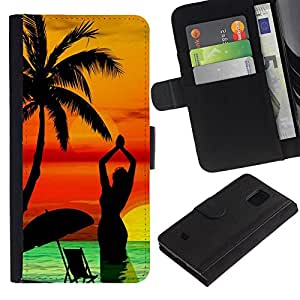 Paccase / Billetera de Cuero Caso del tirón Titular de la tarjeta Carcasa Funda para - Neon Island Paradise Sunset - Samsung Galaxy S5 Mini, SM-G800, NOT S5 REGULAR!