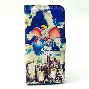 YULIN Flying Elephant Cartoon PU Leather Case with Card Holder for Samsung Galaxy S4 Mini I9190
