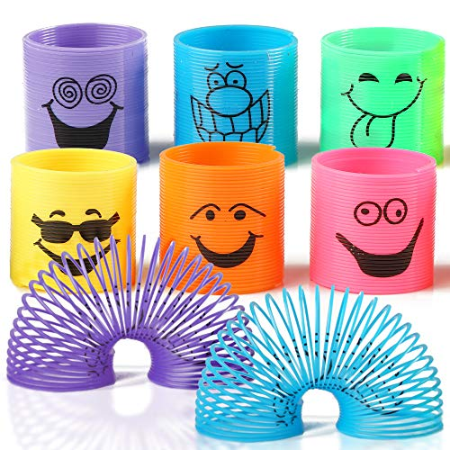 THE TWIDDLERS 96 PCS Bulk Mini Smiley Spring Toys   Mini Silly Face Slinky for Kids Birthday   Party Favor   Goody Bag Fillers   Classroom Prizes & Rewards   Pinata Stuffing   Loot Bag for Kids