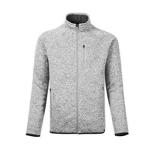 - Dolcevida Men's Soft Shell Warm Sweatshirt Full-Zip Midweight Fleece Sweater Knit Jacket (Gray, L)