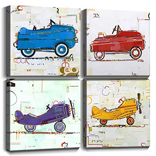 Wall Art for Boys Room Kids Gifts Wall Decor Cute Cartoon Cars Airplane Canvas Prints Hand Painted Style Painting Pictures Framed Artwork Children
