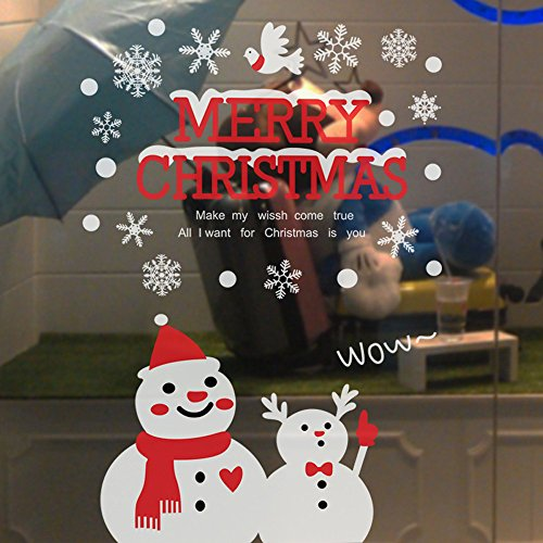 Ximandi Christmas Clearance,Xmas Snowman Removable Home Vinyl Window Wall Stickers Decal Decor (C) (Tablecloth Snowman Vinyl)