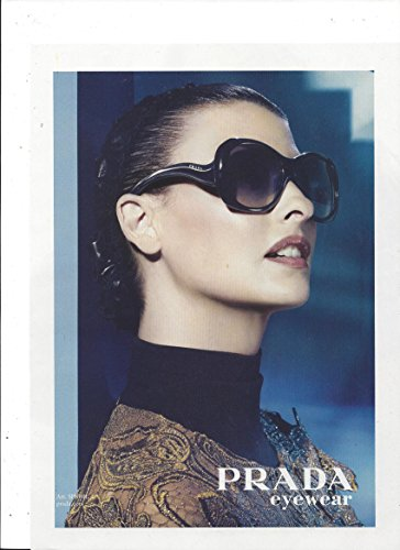 **PRINT AD** With Linda Evangelista For 2008 Prada Black - Ad Sunglasses Prada