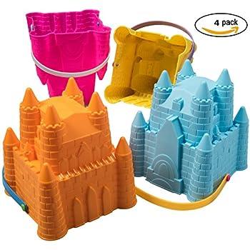 """ToyZe® Sand Castle Pail Buckets, Beach Pails, Sand Mold Pails, 8"""" Inch Pack of 4"""