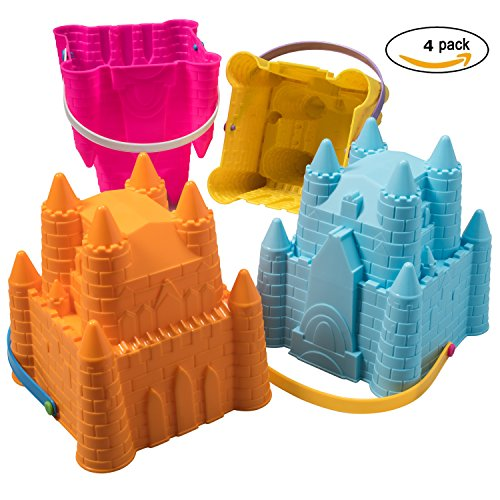 Top Race Sand Castle Pail Buckets, Beach Pails, Sand Mold Pails, 8