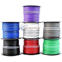 100 ft 14 Gauge Stripe Tracer Cable Single Conductor Remote Wire (4 Rolls)