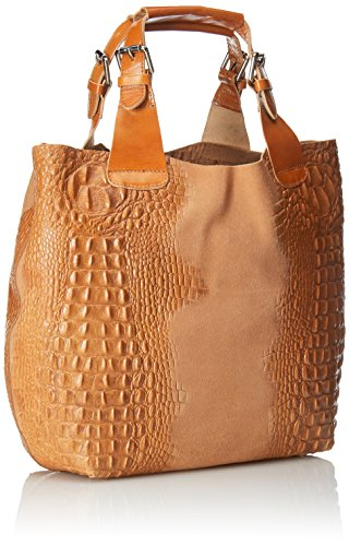 CTM Bolsa de mujer del bolso de mano con estampado Animalier, 44x30x13cm, 100% cuero auténtico Made in Italy Naranja (Cuoio)
