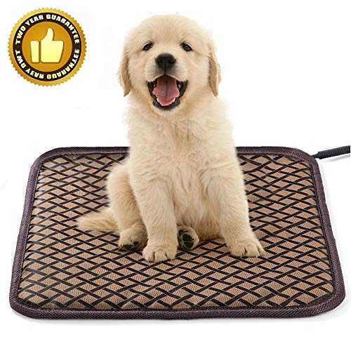 HD JUNTUNKOR Pet Heating Pad Large HDPET, Dog Cat Electric Heating Pad Indoor Waterproof Adjustable Warming Mat with Chew Resistant Steel Cord (17.7 x17.7 in) Brown