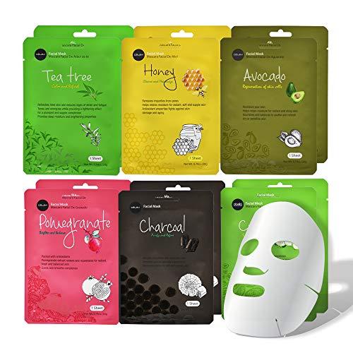 Celavi Essence Facial Face Mask Paper Sheet Korea Skin Care Moisturizing 12 Pack (Mix – 2 of Each)